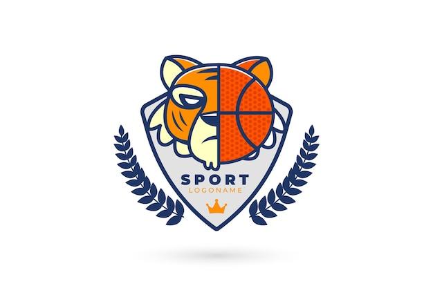 Logo deportivo con tigre y baloncesto