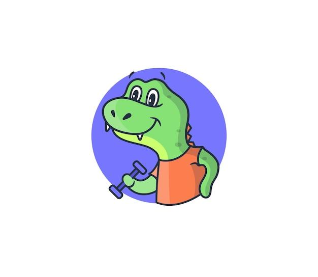 El logo de dino en el círculo morado. dinosaurio deportivo de dibujos animados con una mancuerna en una camiseta naranja.