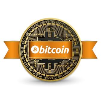 Logo con diseño de bitcoin