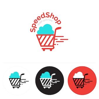 Logo con diseño de carrito de compra
