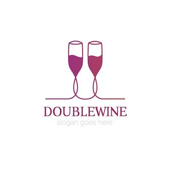 Logo con diseño de copa de vino