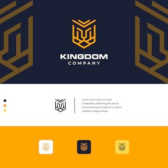 Logo del diseño del león del reino estilo monograma simple