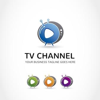 Logo con diseño de televisión
