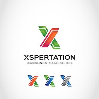 Logo con diseño de x en verde y naranja