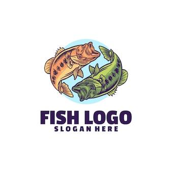 Logo de diversión de pescado