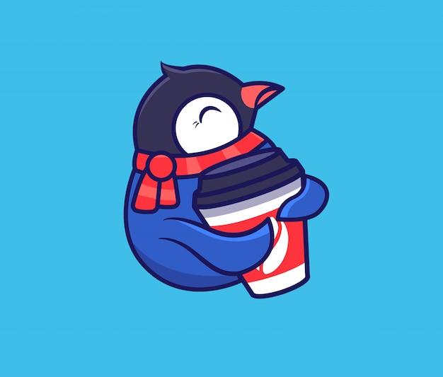 El logo divertido pingüino con café. logotipo de comida, animal lindo