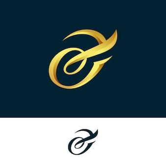 Logo dorado abstracto en dos versiones