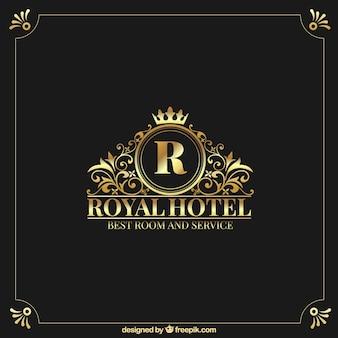 Logo dorado con estilo vintage y de lujo