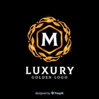 Logo dorado elegante estilo plano