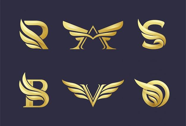 Logo dorado inicial con una combinación de elementos de ala