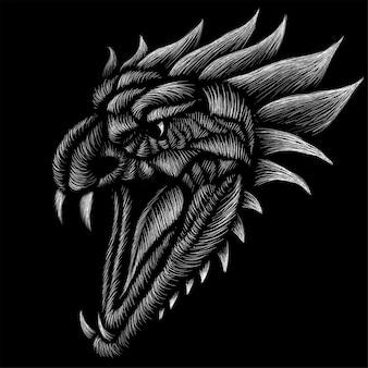 El logo del dragón del vector para el diseño de la camiseta o ropa exterior.