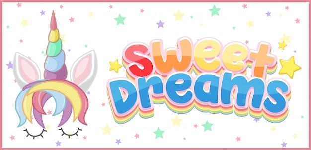 Logo de dulces sueños en color pastel con lindo unicornio y estrellita