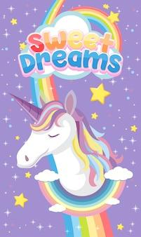 Logo de dulces sueños con lindo unicornio sobre fondo morado