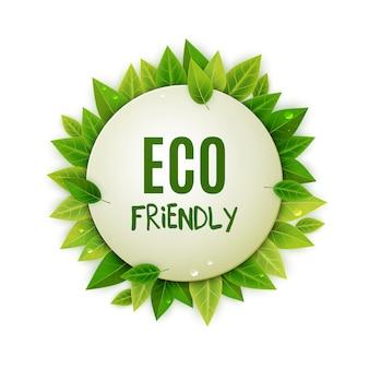 Logo ecológico redondo con hojas verdes.