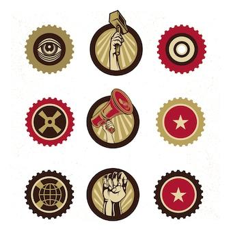 Logo y elementos de marca de propaganda vintage