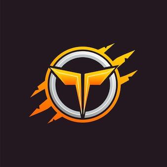 Logo de emblema de letra t monstruo