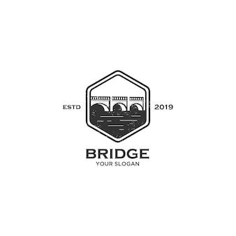 Logo de emblema de puente vintage