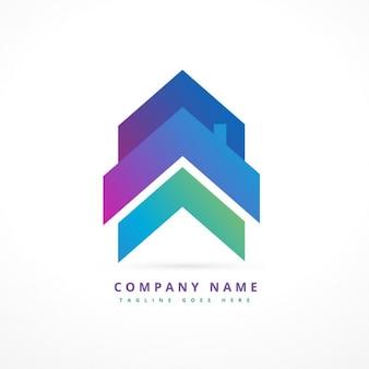 Logo de empresa con una casa flecha