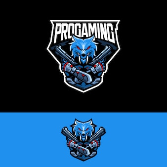 Logo del equipo e-sports con lobo revólver