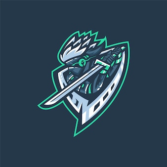 Logo del equipo e-sports con samurai