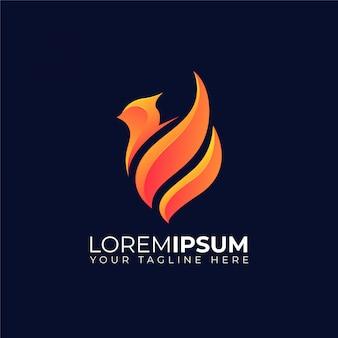 Logo de escudo de fuego de ave fénix