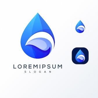 Logo de espacio negativo de agua de hoja