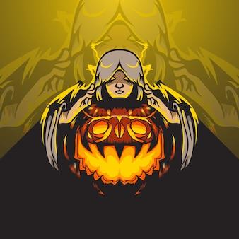 Logo esports de mujer envuelta en una capa con bola de halloween