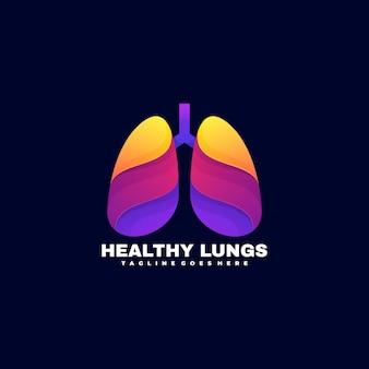 Logo estilo colorido degradado de pulmones sanos.