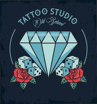 Logo de estudio de tatuajes de diamantes y dados