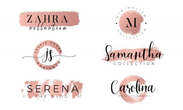 Logo femenino engastado en oro rosa.