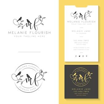 Logo femenino con plantilla de tarjeta de visita.