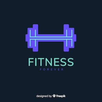 Logo fitness silueta pesa diseño plano