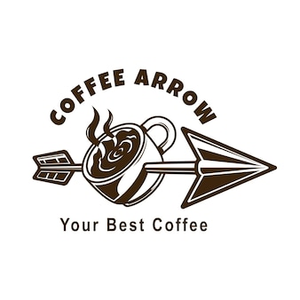Logo de flecha de cafe