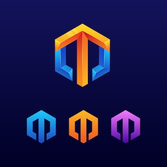 Logo de flecha de letra m