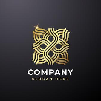 Logo de flor de oro abstracto