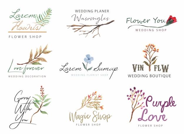 Logo floral con colección de acuarela