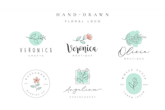 Logo floral dibujado a mano minimalista
