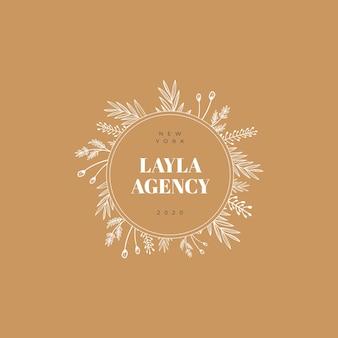 Logo floral minimalista dibujado a mano