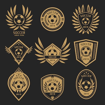 Logo de futbol dorado