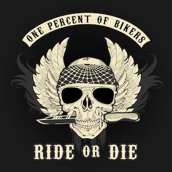 Logo gráfico biker skull con cuchillo colores
