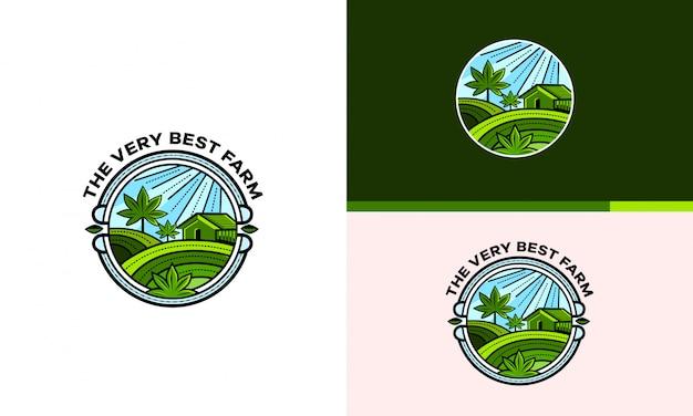 El logo de la granja, el cultivo y el procesamiento del cannabis.
