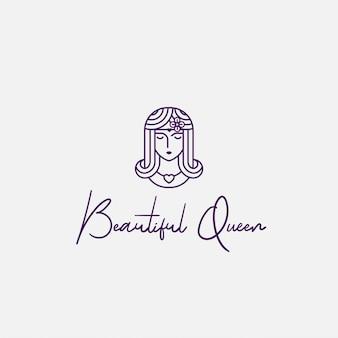 Logo hermosa reina con estilo de arte lineal