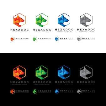Logo hexagon low poly dog