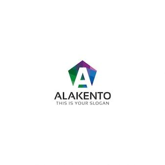 Logo de hexágono de colores con letra a