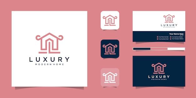 Logo hogar moderno para construcción, hogar, bienes raíces, construcción, propiedad. mínimo impresionante plantilla de diseño de logotipo profesional de moda y diseño de tarjeta de visita