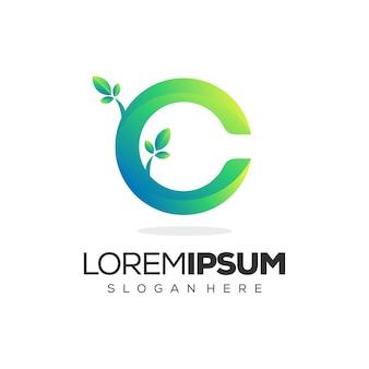 Logo de hoja premium letra c