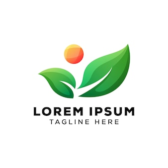 Logo de hojas verdes