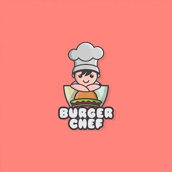 Logo de icono de pequeño chef y hamburguesa
