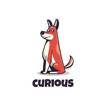 Logo illustration curious dog simple mascot style.