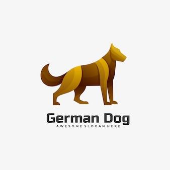 Logo illustration german dog gradient estilo colorido.
